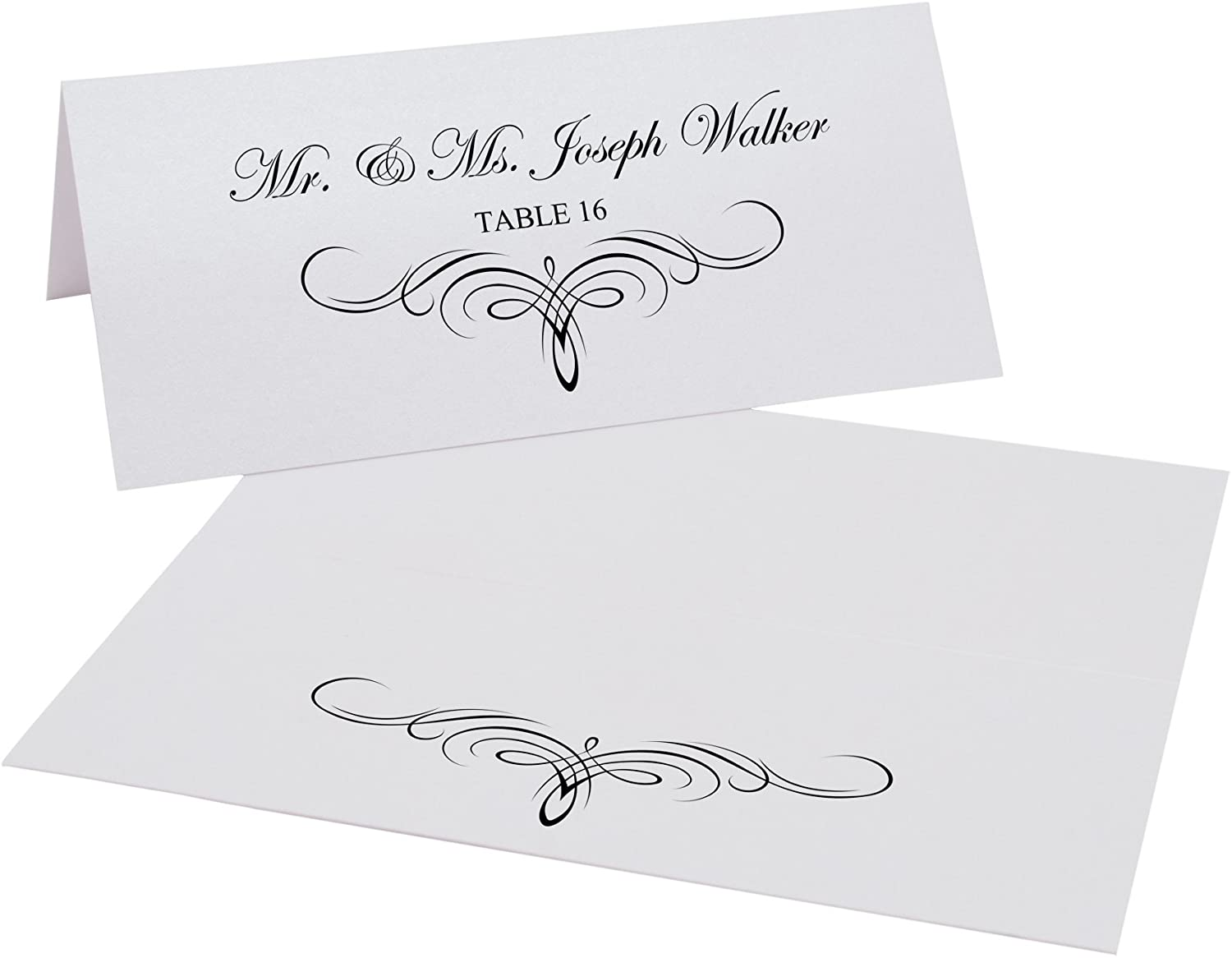 Decadent Flourish Printable Place Cards, Black, Set of 60 (10 Sheets), Laser & Inkjet Printers - Perfect for Wedding, Parties, and Special Events