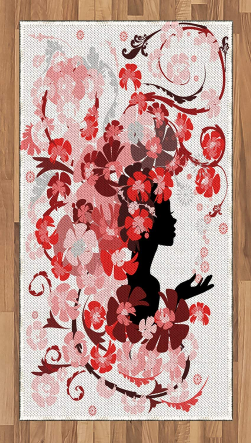 Ambesonne Femimine Area Rug, Flower Girl Hair Long Swirling Pink Blossoms Hair Dressers Beauty Feminine, Flat Woven Accent Rug for Living Room Bedroom Dining Room, 2.6' x 5', Black Pink and Red