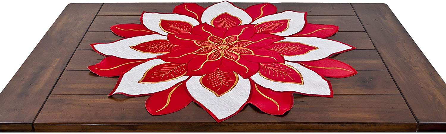 Embroidered Holiday Christmas Red White and Gold Poinsettia Doily Placemat Small Table Topper 36 Inches Round Doily