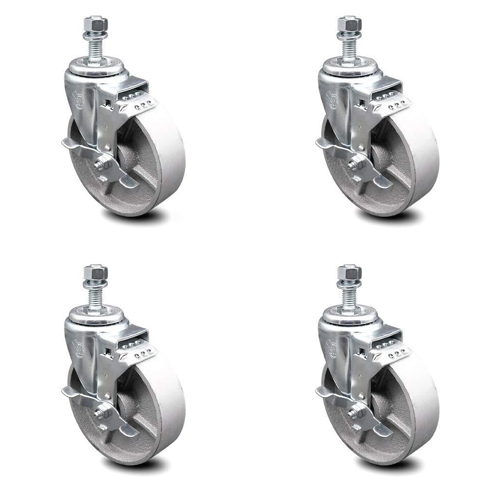 Semi Steel Cast Iron Swivel Threaded Stem Caster w/Roller Bearing Set of 4 w/5