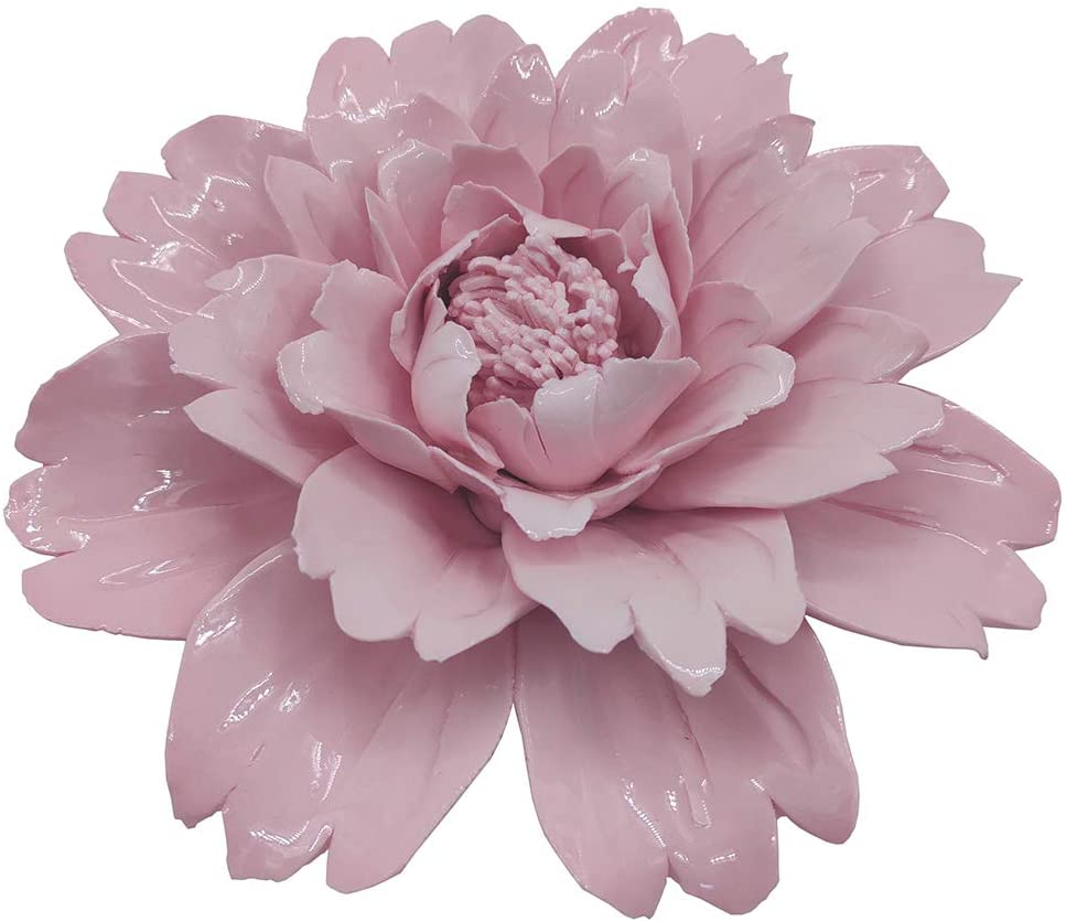 CALANTA Handmade Pink Ceramic Peony Flower Sculpture 3D Wall Hanging Decor 6