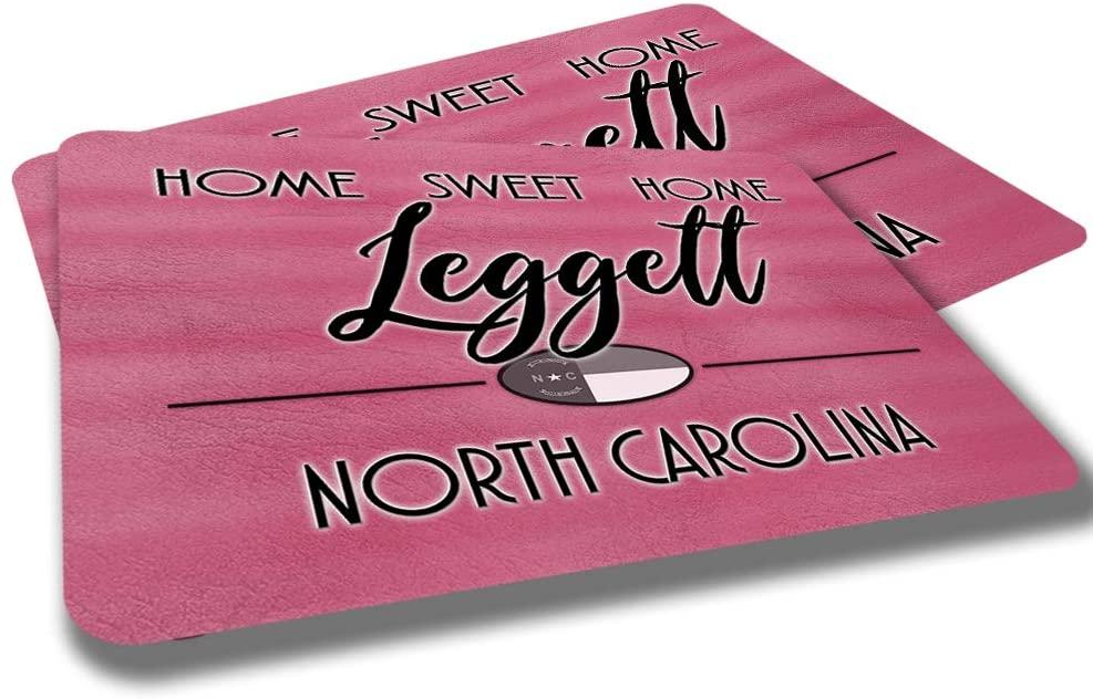 Leggett North Carolina Home Sweet Home Towns Cities Provinces Door Mat Red Souvenir Gift Design Rubber Grip Non Skid Backing Rug Indoor Entryway Door Rugs Mats Pack of 2