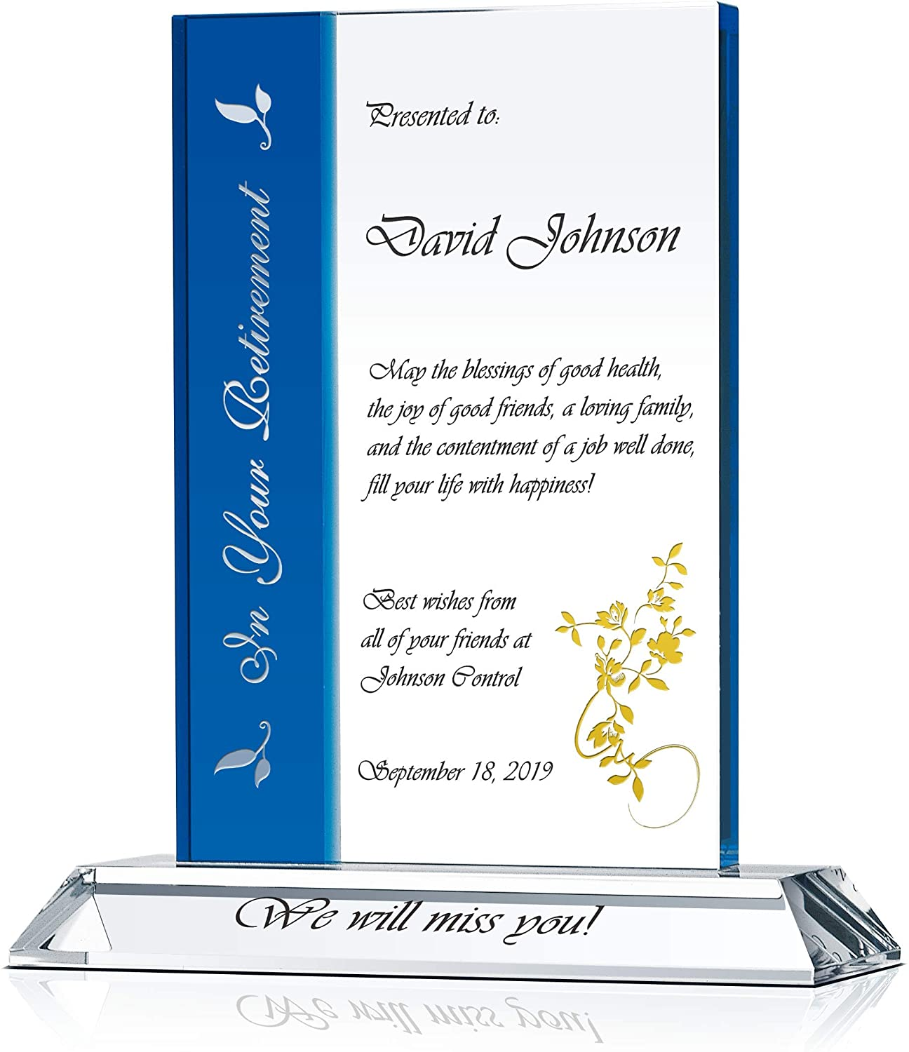 Personalized Crystal Retirement Gift Plaque for Man and Woman, for Employee, Staff, Coworker, Colleague & Friend, Customized with Retiree's Name, Retirement Date, Company Name (L - 9