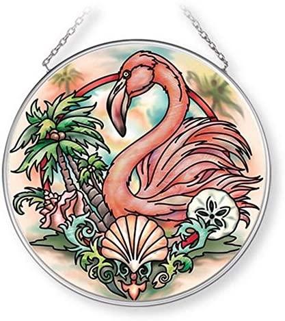 AMIA Flamingo MC Precious, Wild and Free Glass Suncatcher, 4 1/2, Multicolor