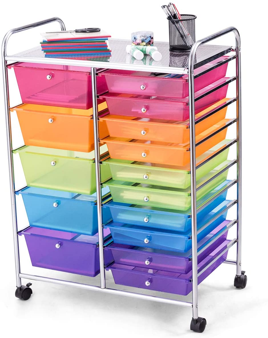 15 Drawer Rolling Storage Cart and Organizer, BestComfort Utility Cart for School, Office, Home, Beauty Salon Multi-Use Storage Organizer Cart (Multicolor)