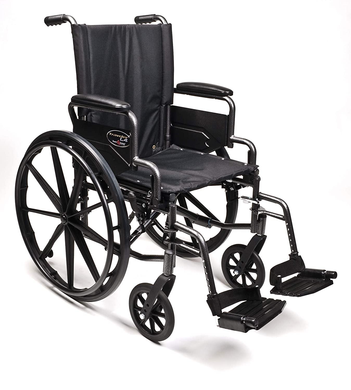 Graham-Field Everest & Jennings Traveler L4 Lightweight Wheelchair, Flip-Back Desk Arms & Swingaway Footrests, 18x18