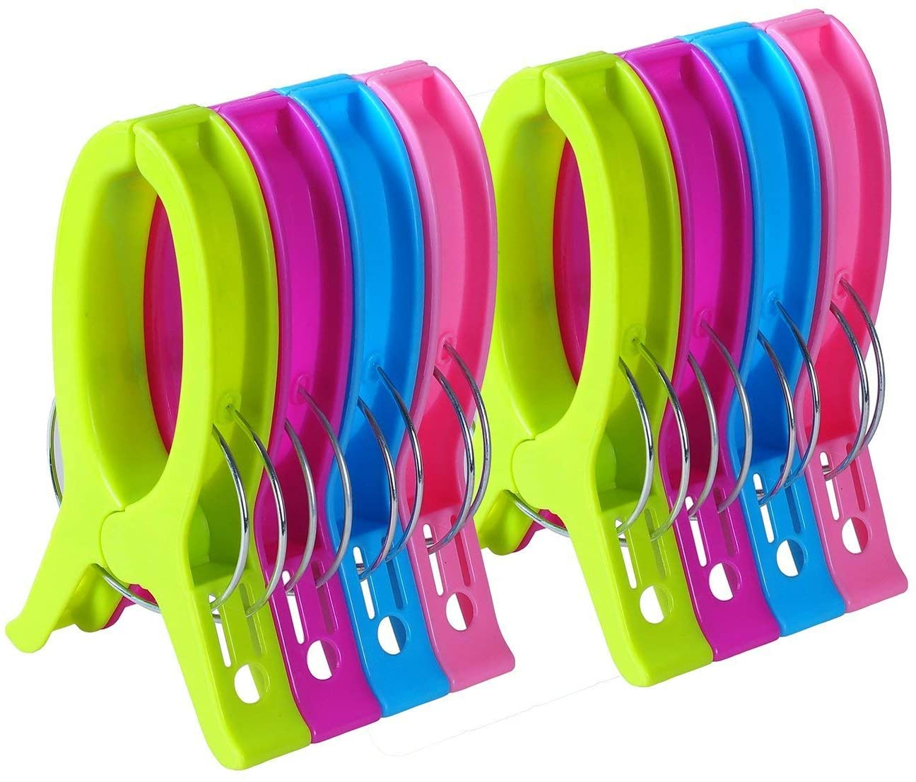 8 Pack Beach Towel Clips for Beach Chairs Or Lounge Chair - Keep Your Towel from Blowing Away - 6.3 Inch