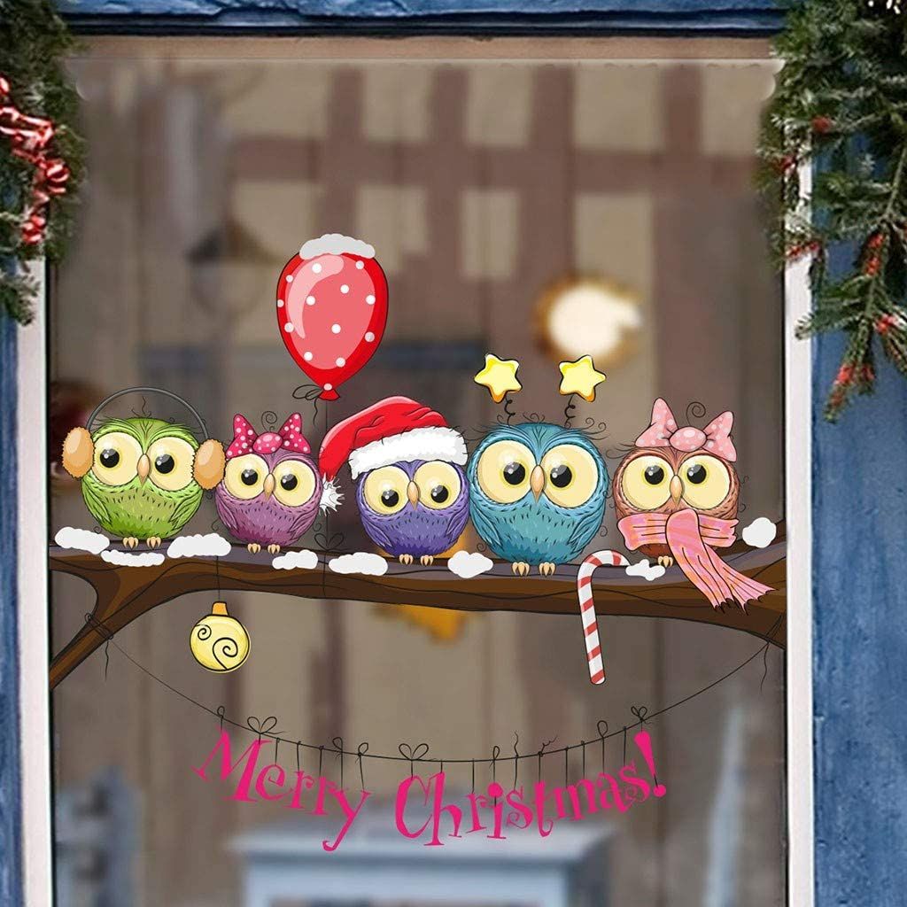 Christmas-Dressed Owl On A Tree Branch Art Theme Series Window Wall Stickers Shop Home Decor Wallpaper Decal Ornament