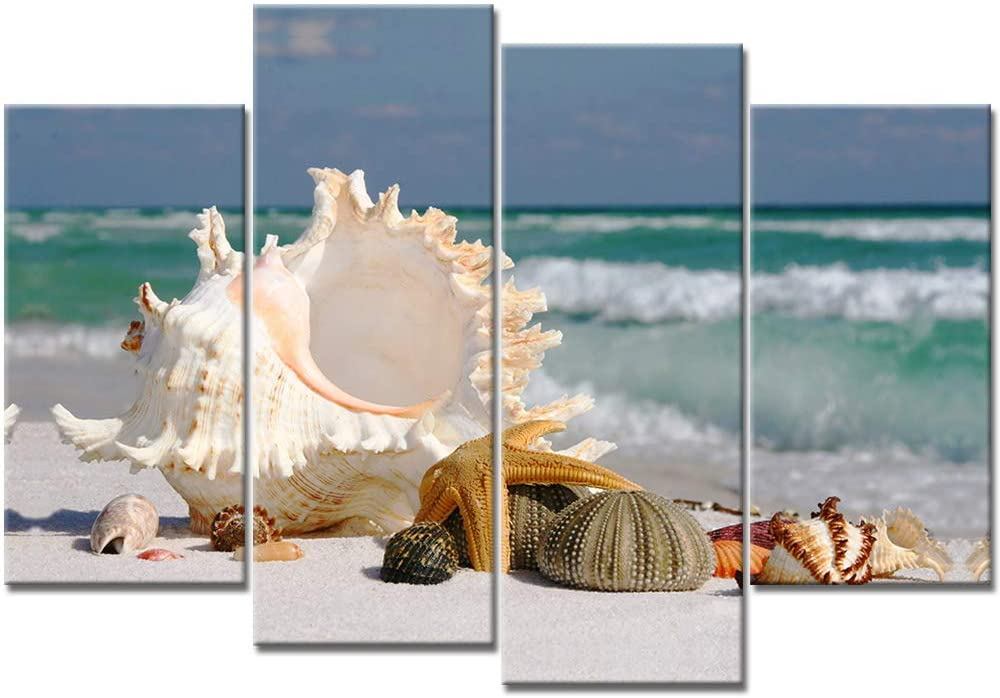 DekHome 4 Panels Seascape Giclee Canvas Prints Seashell Starfish Beach Pictures Modern Seaview Landscape Artwork Stretched and Framed for Bedroom Home Office Decorations