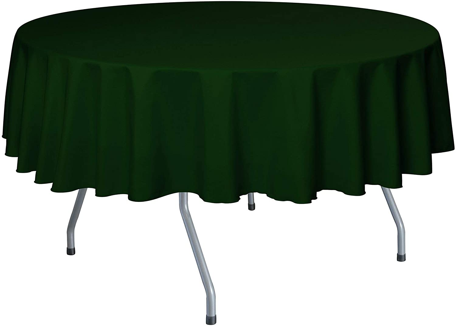 Ultimate Textile -10 Pack- 84-Inch Round Polyester Linen Tablecloth, Hunter Green