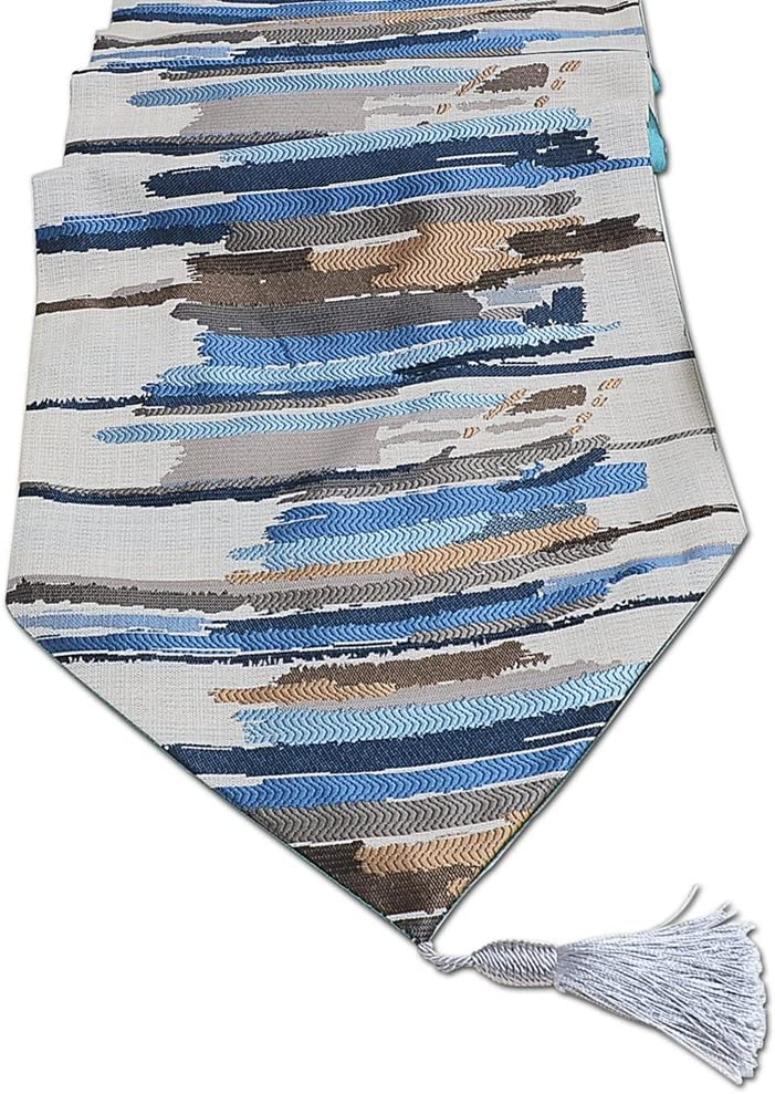 120 In Stripe Polyester Fall Table Runners LivebyCare with Tassels Colorful Stripe Polyamide polyester 13 x 120 Inches Table Runners