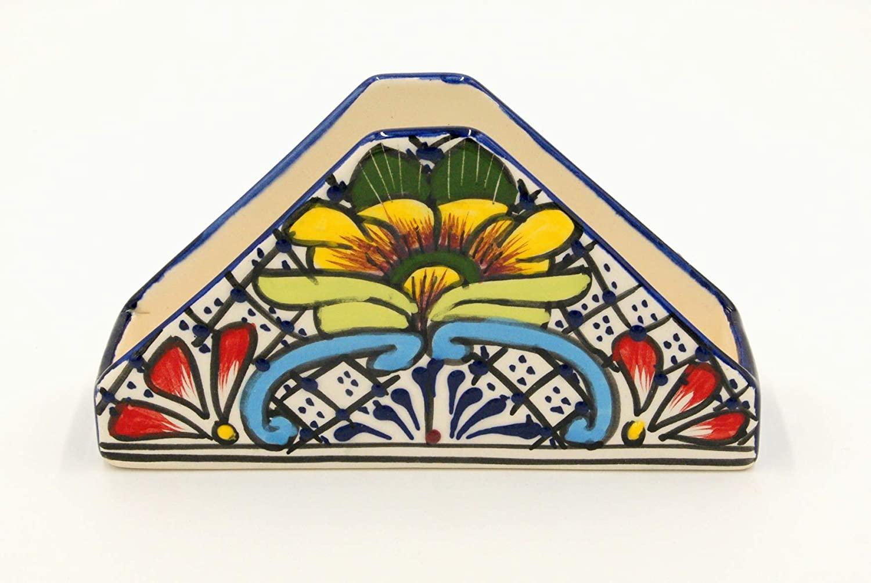 Elan Home & Kitchen Talvera Napkin Holder - Colorful Hand Painted Tissue Dispenser - Talavera Servilletero (Multi)