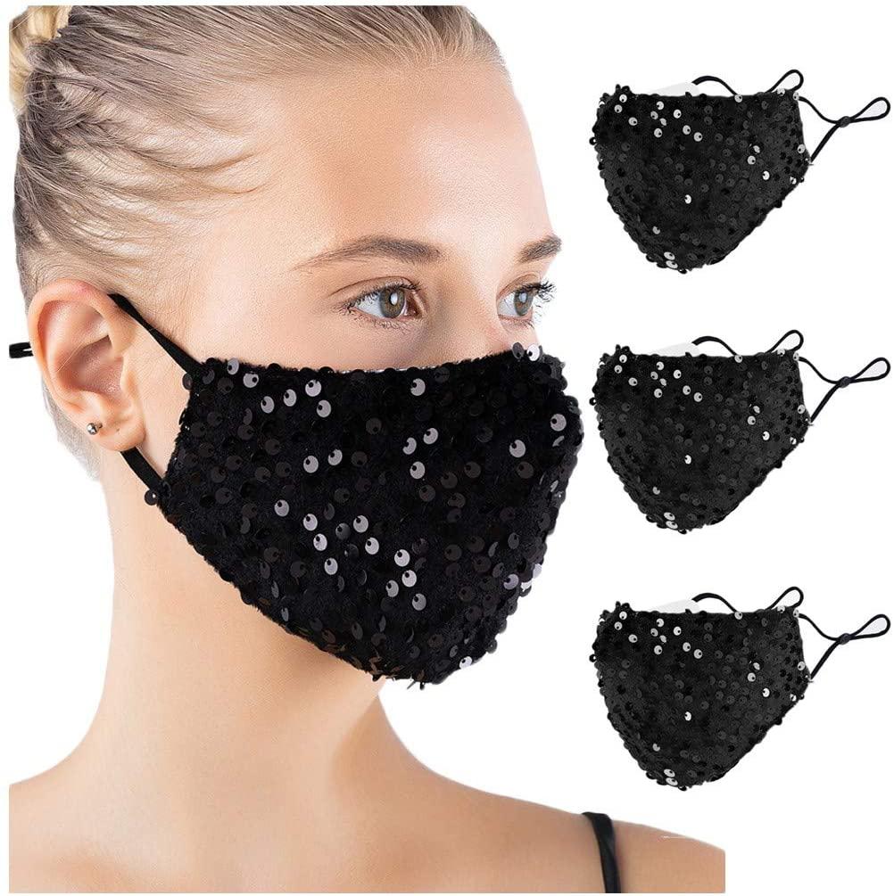 vividen Christmas Halloween Masquerade Mask for Women Cotton Sequin Washable Reusable Windproof Anti-Spitting Face Bandanas Face Scarf Facial Decorations