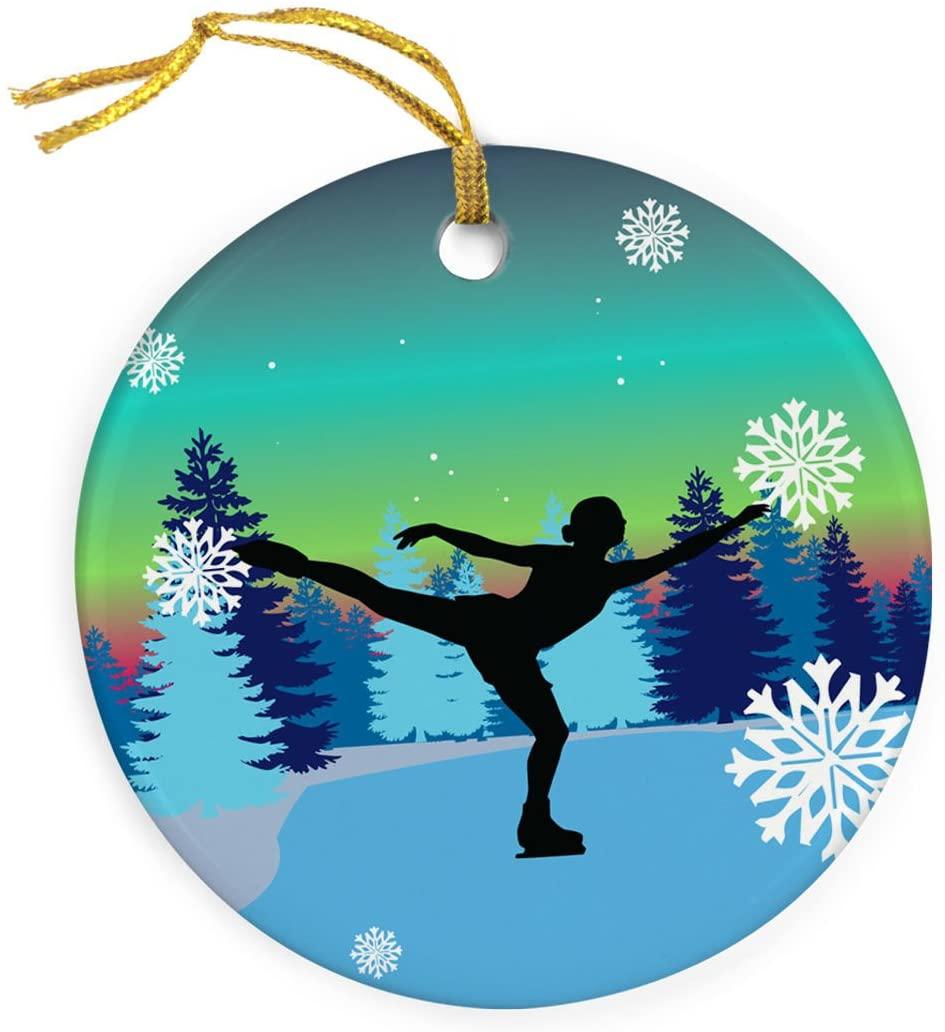ChalkTalkSPORTS Figure Skating Porcelain Ornament   Skater On Ice Ornament