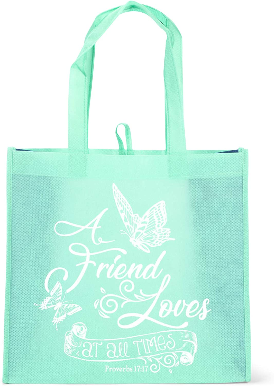 Friend Loves At All Times Sky Blue 12.5 x 12 Canvas Fabric Eco Tote Handbag