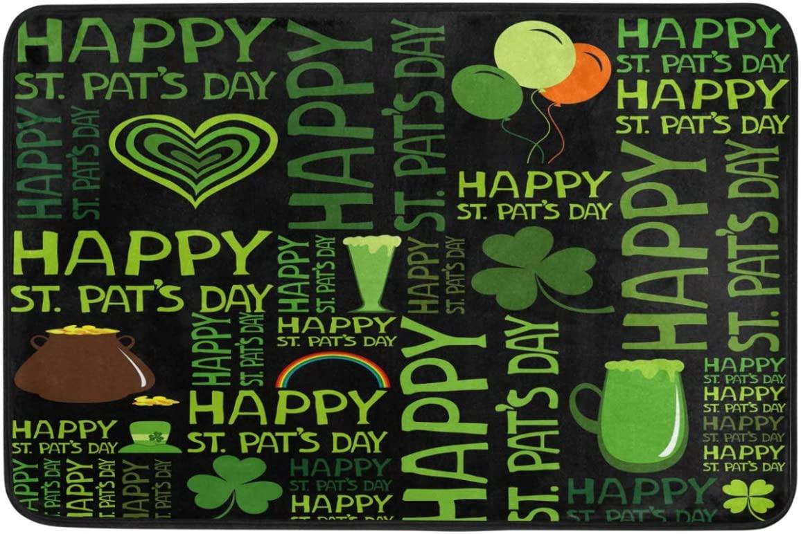 St.Patrick's Day Decoration Doormat Home Decor Golden Coins Hat Pot Rainbow Clover Shamrock Heart Beer Welcome Indoor Outdoor Entrance Bathroom Floor Mats Non Slip Washable Hoilday Pet Food Mat, 24x16