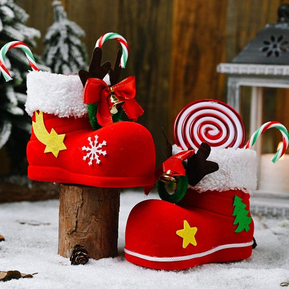 Christmas Candy Bag, 3x5x3 Inch Christmas Candy Boots Christmas Decorations Children's Gifts Christmas Tree Ornaments Christmas Stocking For Children Christmas Ornament Candy Pouch Bag Theme Santa