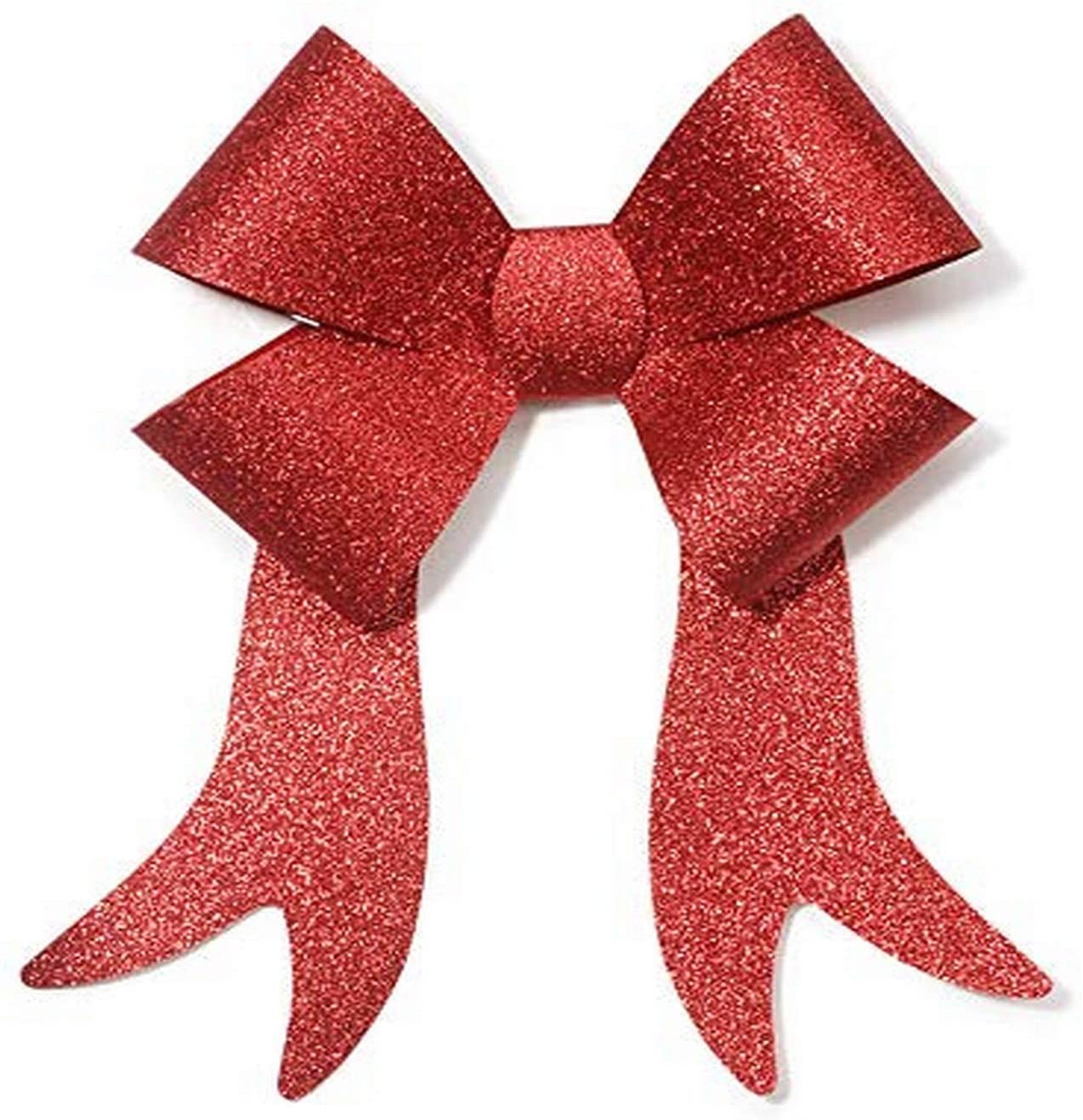 ArtVerse Holiday Bow-PVC-Red Glitter-9 x 15 inches (1 Pack)