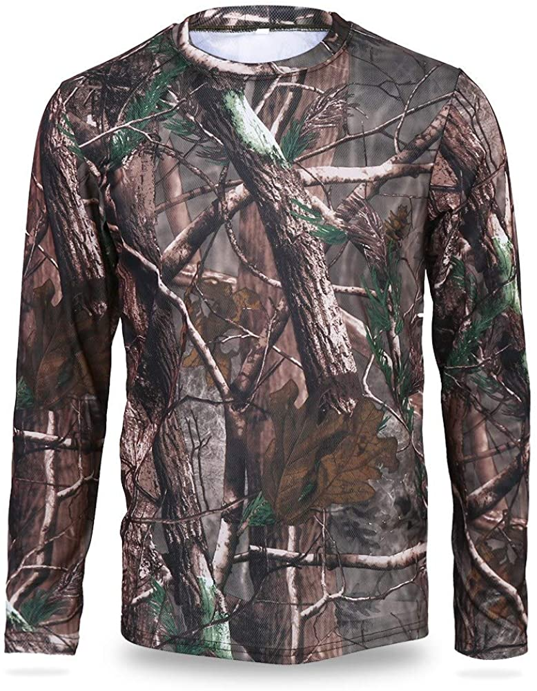 Gojiny Men Camouflage Long Sleeve T-Shirt Moisture Absorption Sweat Releasing Quick Drying Clothes for Camping Outdoor Sports