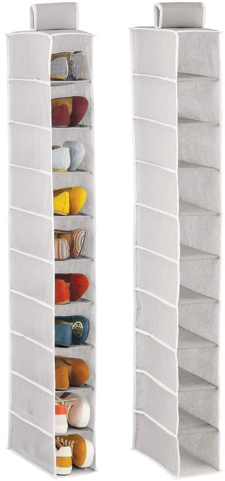 mDesign Soft Fabric Closet Organizer - Holds Shoes, Handbags, Clutches, Accessories - 10 Shelf Over Rod Hanging Storage Unit - 2 Pack - Light Gray/White