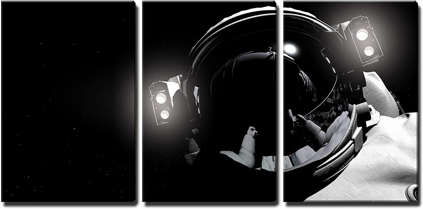 wall26 - 3 Piece Canvas Wall Art - The Astronaut in Outer Space - Modern Home Art Stretched and Framed Ready to Hang - 16x24x3 Panels