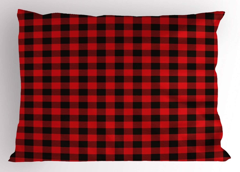 Ambesonne Plaid Pillow Sham, Lumberjack Fashion Buffalo Style Checks Pattern Retro Style with Grid Composition, Decorative Standard Size Printed Pillowcase, 26