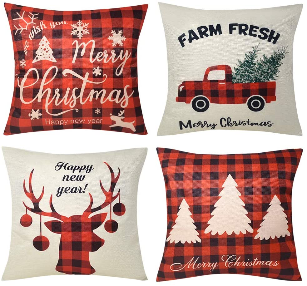 Buffalo Plaids Christmas Pillow Covers Decorative Farmhouse Pillows Deer Farm Fresh Decor Cushion Covers Xmas Truck Tree Snow Throw Pillow Cases for Home Indoor Couch Sofa Bedroom
