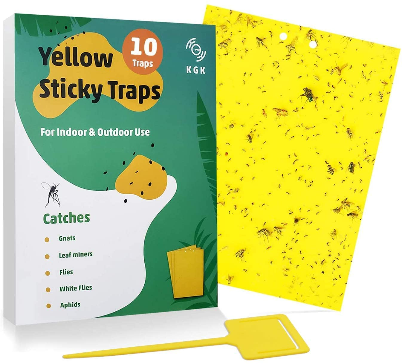 KGK Sticky Traps - 10 Pack, Dual-Sided Yellow Sticky Traps for Fungus Gnats, Aphids, and Other Flying Plant Insects - 6x8 Inches (Twist Ties and Holders Included)