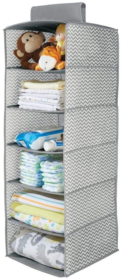 mDesign Soft Fabric Over Closet Rod Hanging Storage Organizer with 6 Shelves for Child/Kids Room or Nursery - Chevron Zig-Zag Print - Gray/Cream
