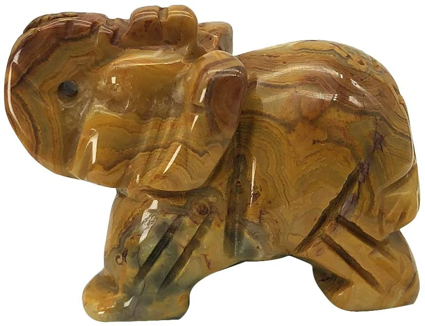 Fekuar Hand Carved Crazy Agate Stone Elephant Statue, Healing Crystal Animal Figurine Carfts Collectible Decor 2 Inches