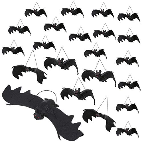 22 Pieces Halloween Realistic Hanging Bats, Fake Rubber Bats for Halloween Party Supplies and Decoration