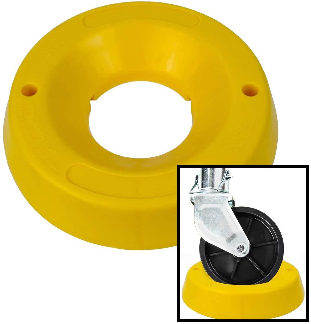 VaygWay Trailer Tongue Jack Wheel Dock – Heavy Duty Yellow Wheel Stopper – Dock Chock Yellow High Visibility – Yellow Travel Trailer Jack Caster