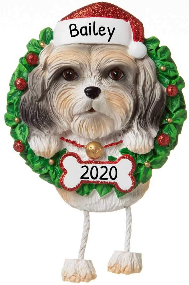 Personalized Shih Tzu Christmas Tree Ornament 2020 - Fluffy Dog Dangle Paw Santa Hat Love Play Companion House Intelligent Smart Long Hair Fur-Ever New Loyal Family R.i.p. - Free Customization