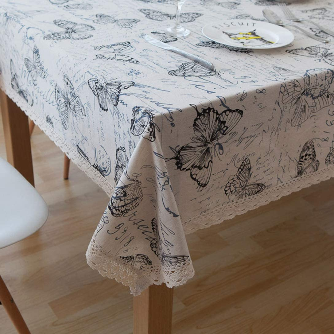 Retro Lace Table Cloth Linen Cotton Tablecloth for Rectangular Vintage Butterfly Pattern Table Cover