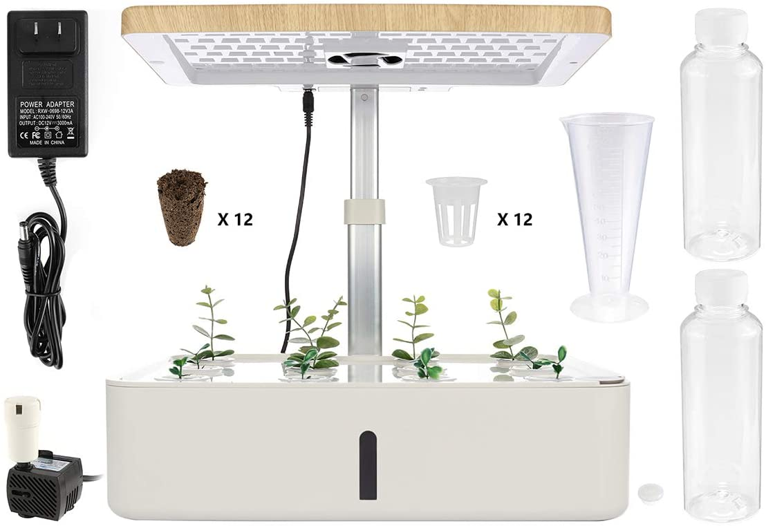 Hydroponics Growing System -LED Plant Growth Light Indoor Smart Planting, Height-Adjustable Garden Budding Kit, Used for Home/Room/Kitchen/Office, Various Plants, DIY Decoration
