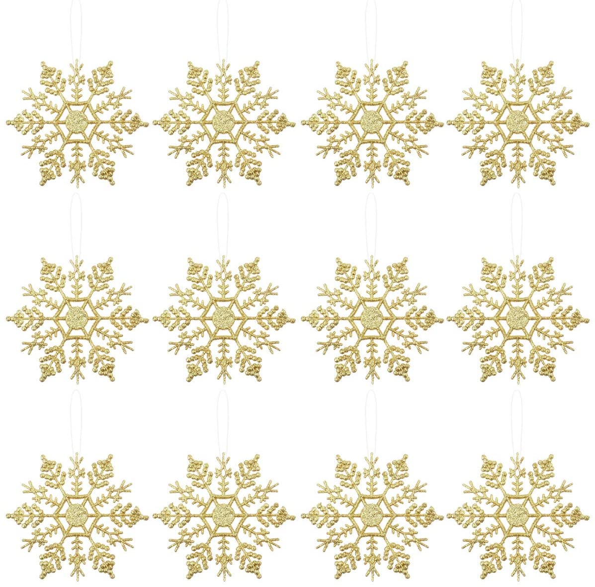 Amosfun 12pcs Christmas Glitter Snowflake Plastic Snowflake Hanging Ornaments Decorations Christmas Tree Decorations for Christmas Party and Home Decor