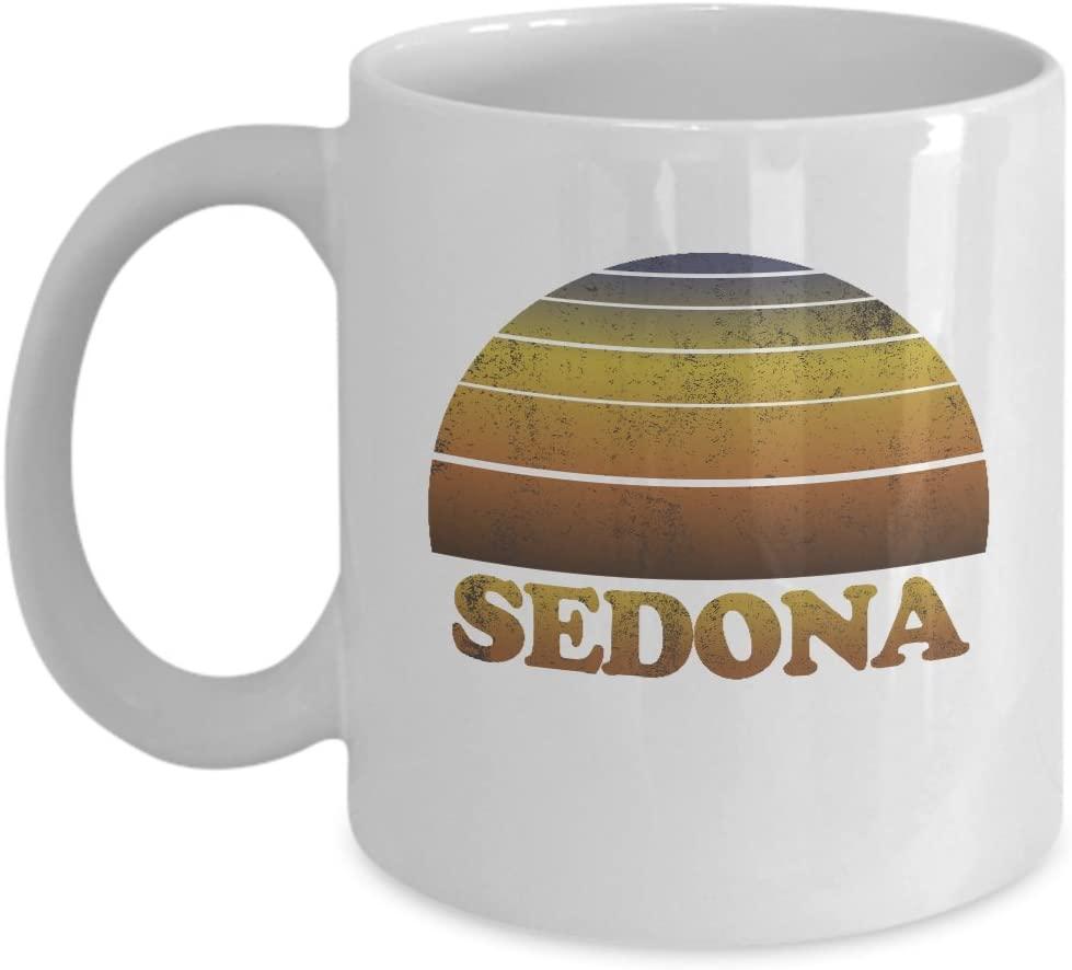 Sedona Arizona Coffee Mug - 11oz White Ceramic Tea Cup Vintage Sunset. Pride Novelty Holiday Christmas Gift.