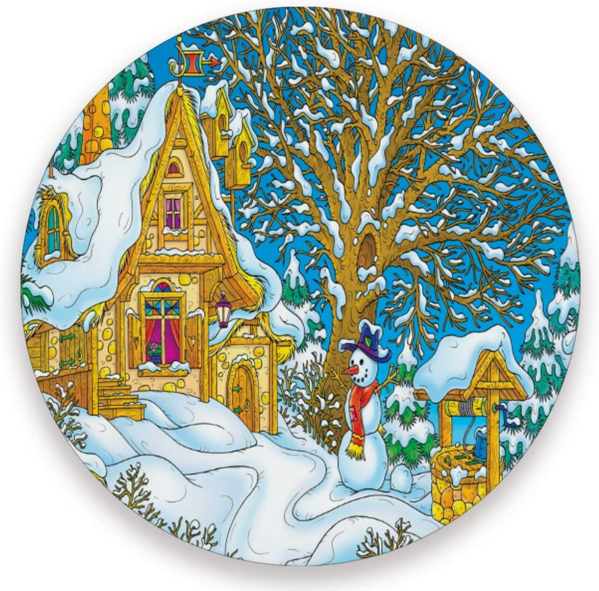 Olinyou Vintage Christmas Village Santa Snowman House Coaster for Drinks 1 Pieces Absorbent Ceramic Stone Coasters with Cork Base