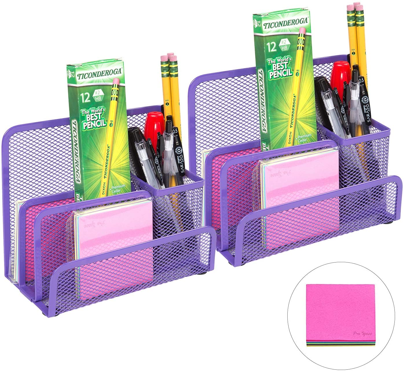 Pro Space Mesh Pen Holder Metal Pencil Holder,Business Card Holder for Desk Office Pen Organizer,A Note for Free,6.93.45.5 (2 Packs Purple)