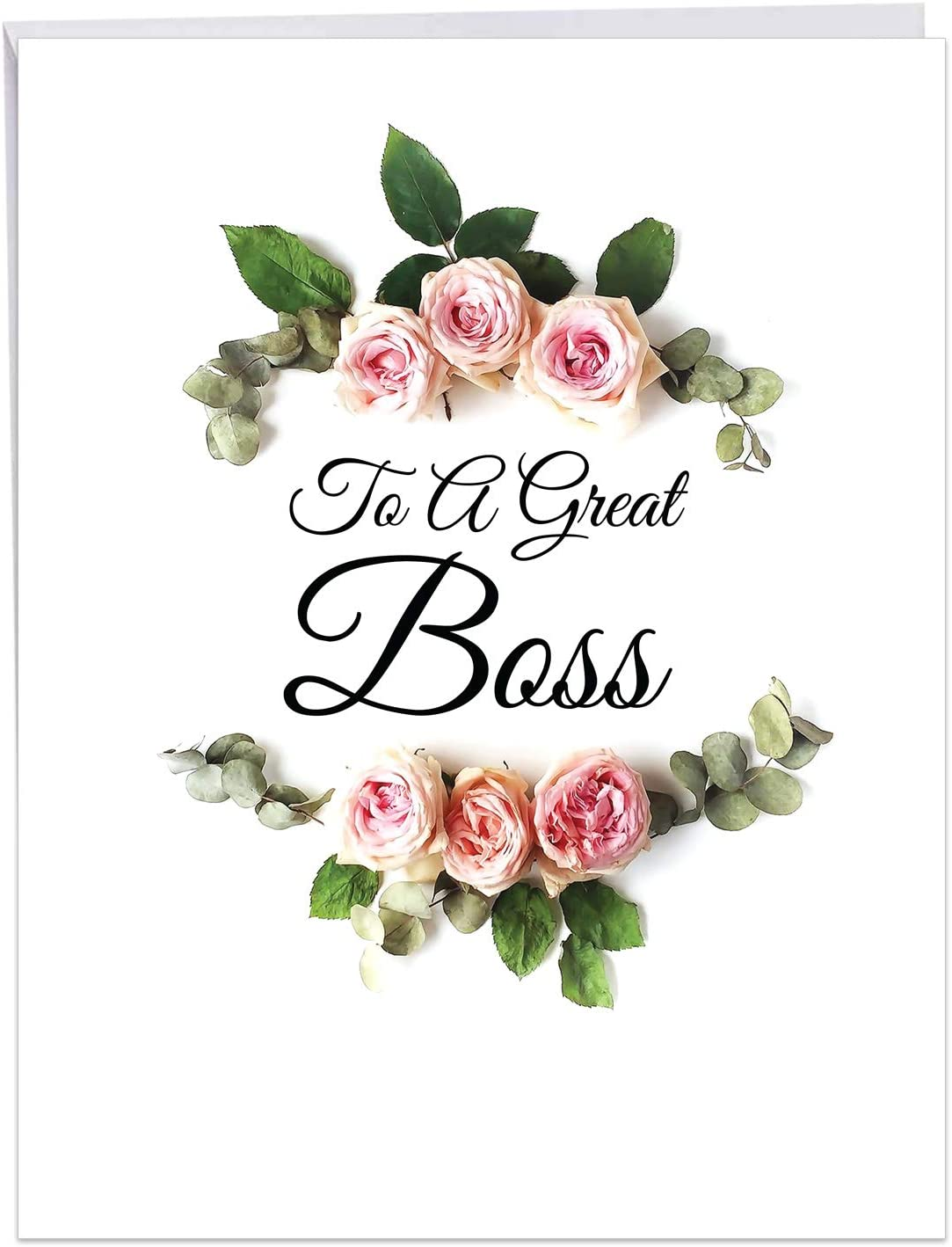 The Best Card Elegant Flowers - Boss's Day From All of Us Card with Envelope (8.5 x 11 Inch) Featuring Script Sentiment Surrounded by Beautiful Floral Arrangements J4175ABOG-US