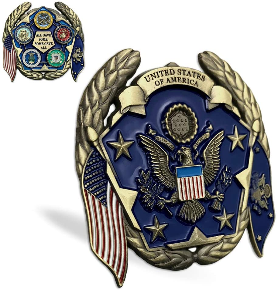 United States Military Family Challenge Coin US Army USN USAF USMC USCG Veteran Collection Gift