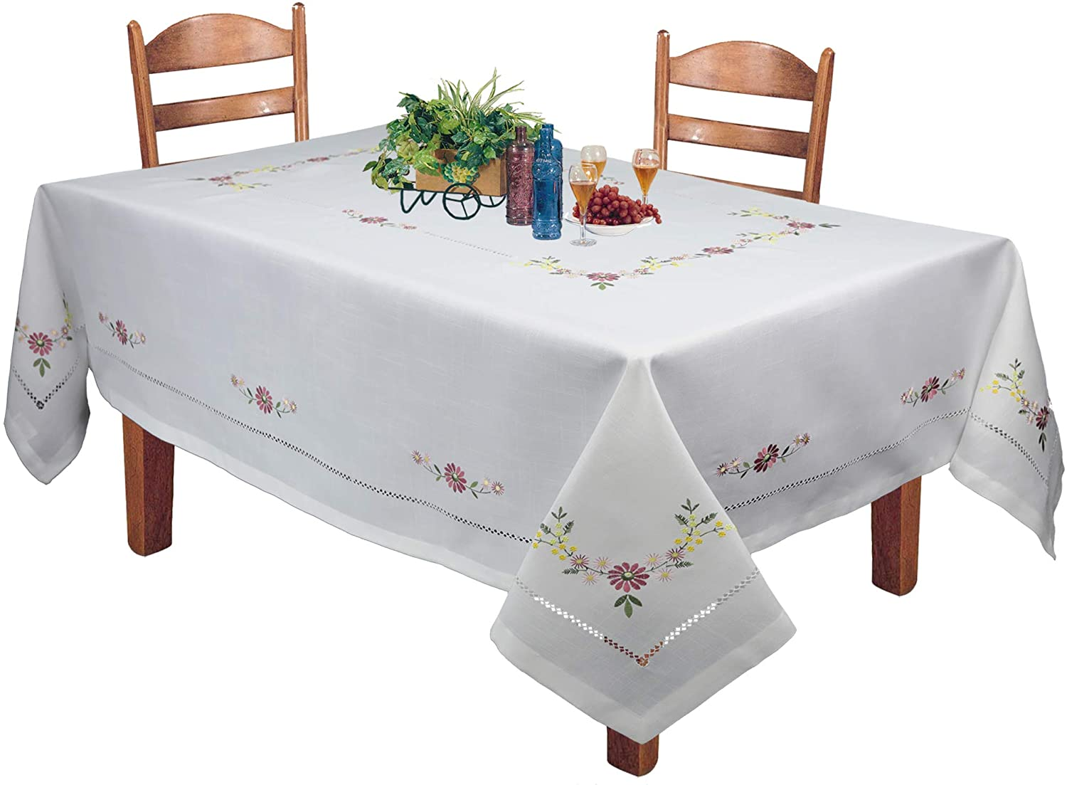 Creative Linens Hemstitched Embroidered Daisy Flower Tablecloth 70x140 Rectangular Table Cover White
