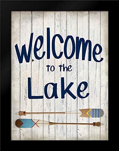 Kimberly, Allen 19x24 Black Modern Framed Art Print Titled Welcome to The Lake