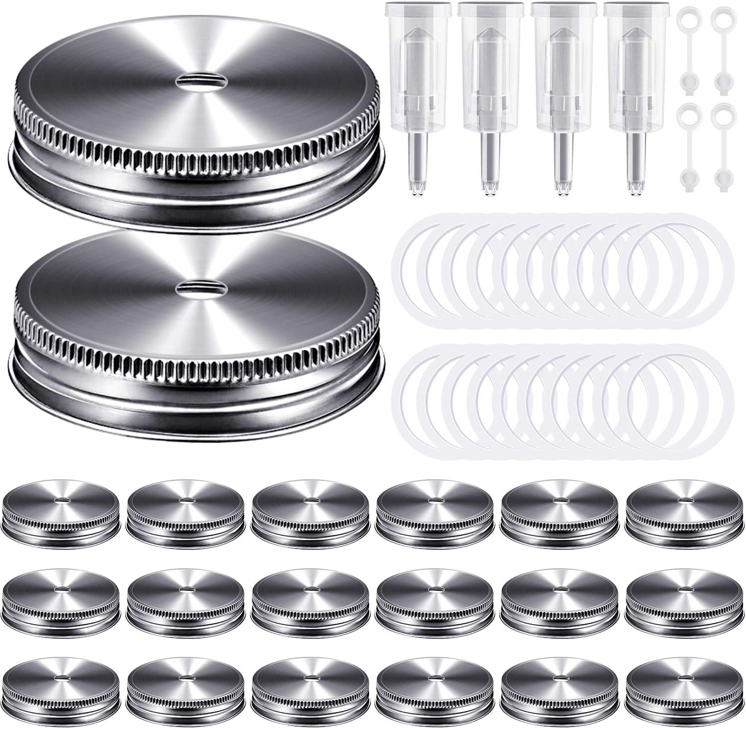 Fermentation Lids, Fermentation Kit for Wide Mouth Jars, 4 Airlocks, 20 Silicone Canning Rings, 20 Stainless Steel Mason Jar Lids for Making Sauerkraut Pickle Hot Sauce