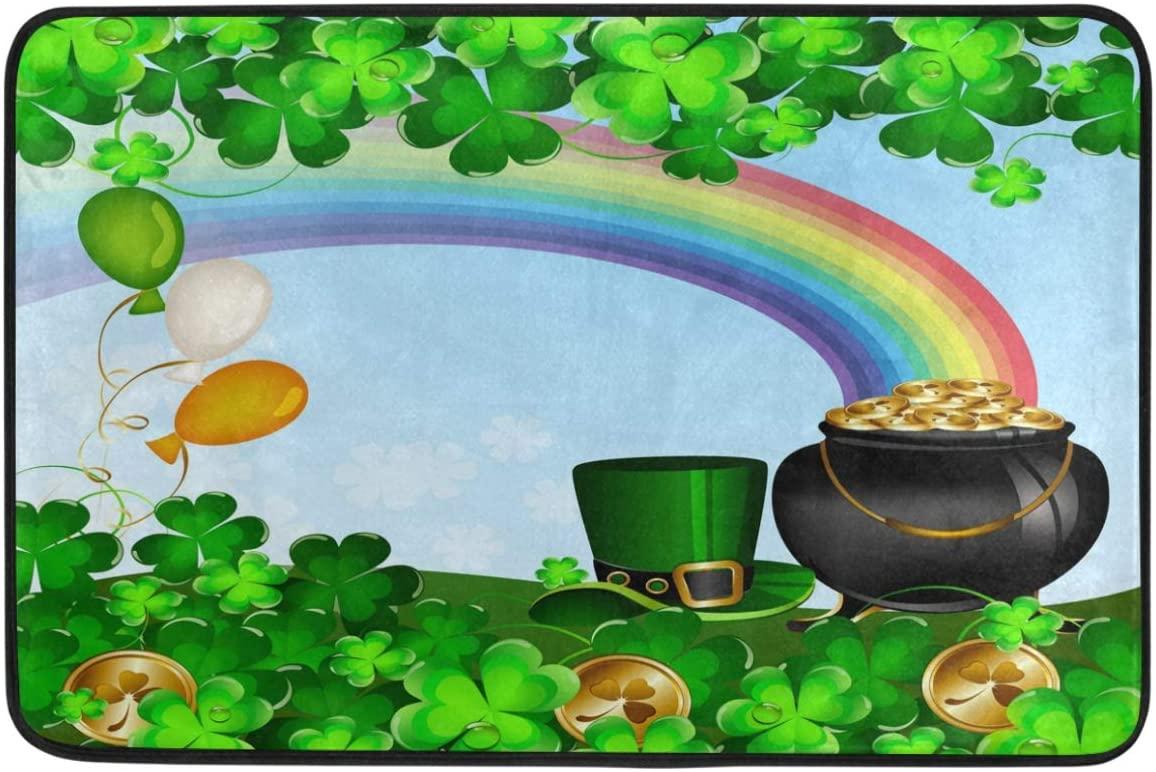 St.Patrick's Day Decoration Doormat Home Decor Gold Coin Pot Rainbow Green Hat Shamrock Clovers Welcome Indoor Outdoor Entrance Bathroom Floor Mats Non Slip Washable Hoilday Pet Food Mat, 24x16 inch
