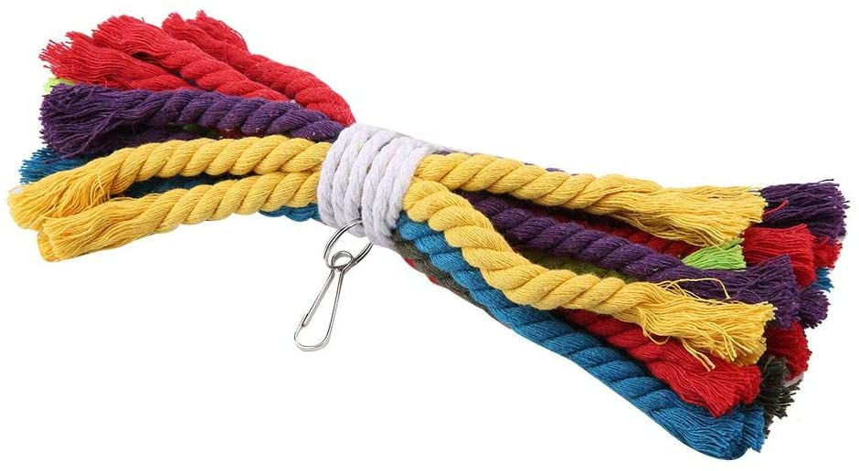 HEEPDD Parrot Bite Toys, Colorful Cotton Rope Bird Chewing Hanging Toys Cage Accessories for Macaw African Grey DHgate Cockatoo Budgies Parakeet Cockatiel Lovebird