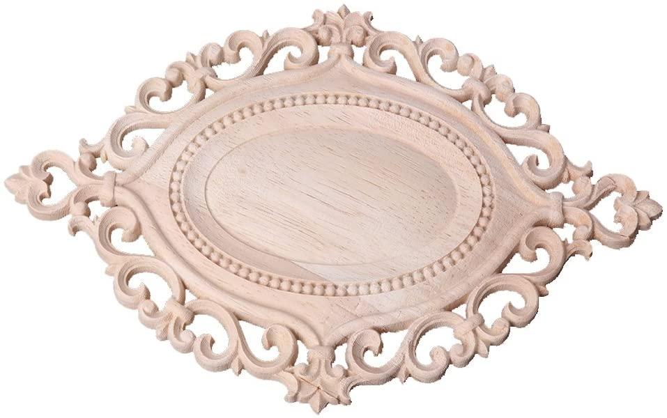 chefensty Hot Natural Wood Carved Flower Applique Furniture Unpainted Cabinet Corner Home