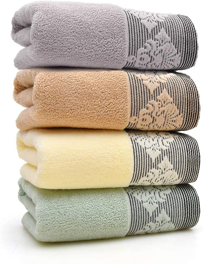 SEA GIANT Hand Towels Set of 4, 100% Cotton Soft Highly Absorbent Face Towels for Bathroom 13x 29 Inch