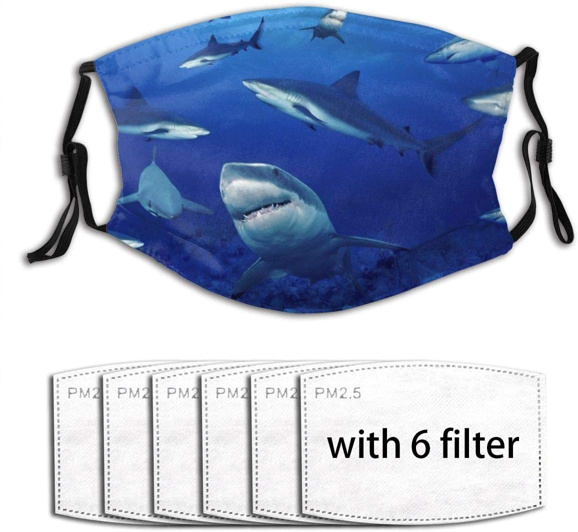 Shark Swim Blue Ocean Fashionable Outdoor Face Dustproof Accessories (With 6 Filters)