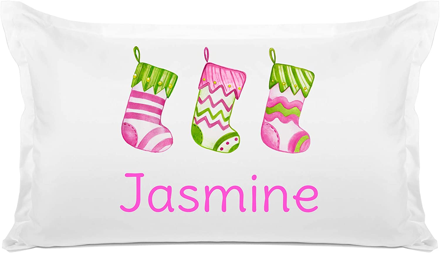 Di Lewis Kids Holiday Pillowcase – Christmas Stocking - Personalize with Name - Hypoallergenic, Breathable, Anti Wrinkle, White - 20x30 Standard Queen